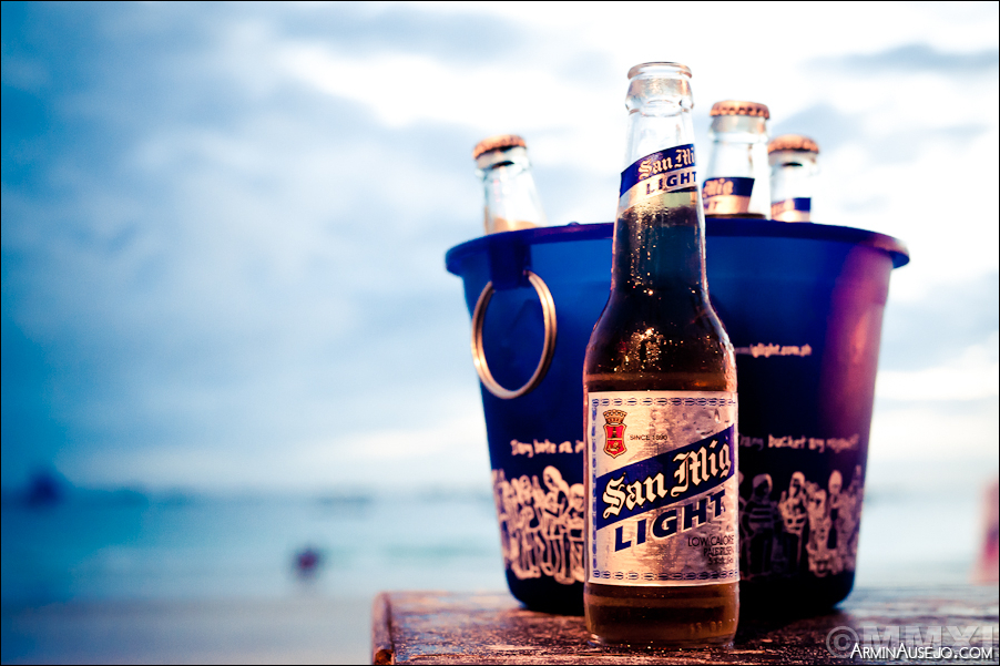 San Mig Light on the beach at Boracay
