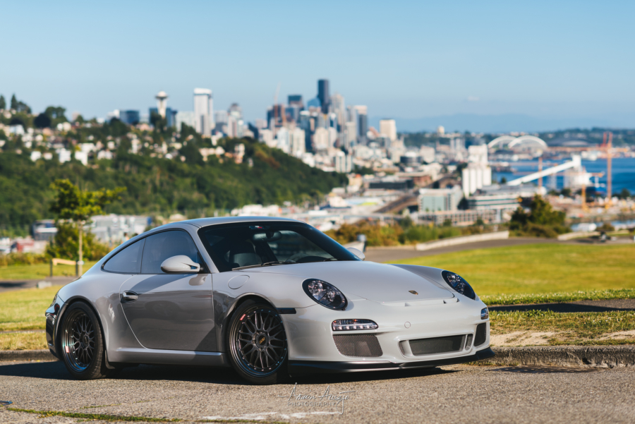 Rheena's Porsche 911 overlooking Seattle