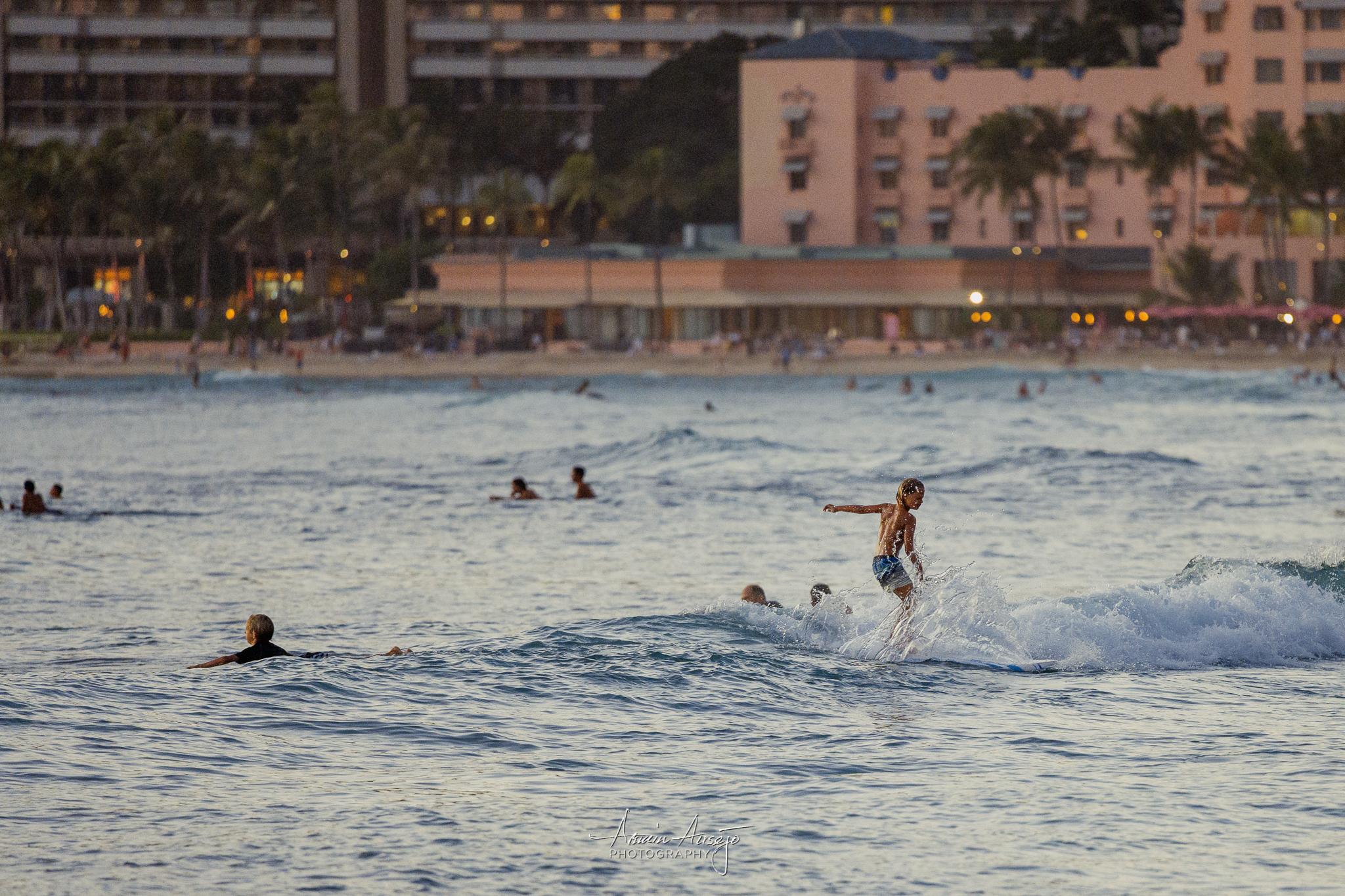 Surfers at Waikiki, Nikon Z7 with Nikon 300mm f/4G PF VR, ISO 5000