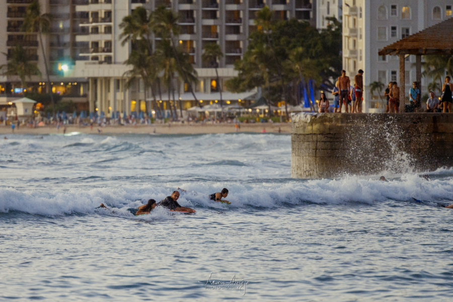 Surfers at Waikiki, Nikon Z7 with Nikon 300mm f/4G PF VR, ISO 5000
