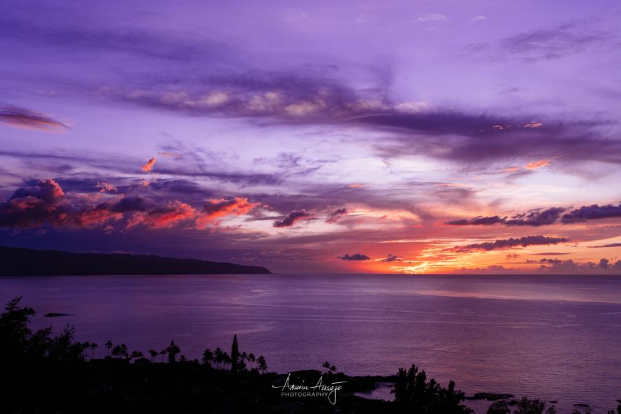 Purple sunset over Waimea Bay with the Nikon Z7