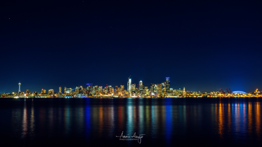 Seattle at night from Alki