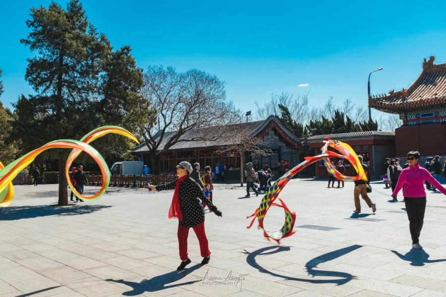 Ribbon dancing in Jingshan Park