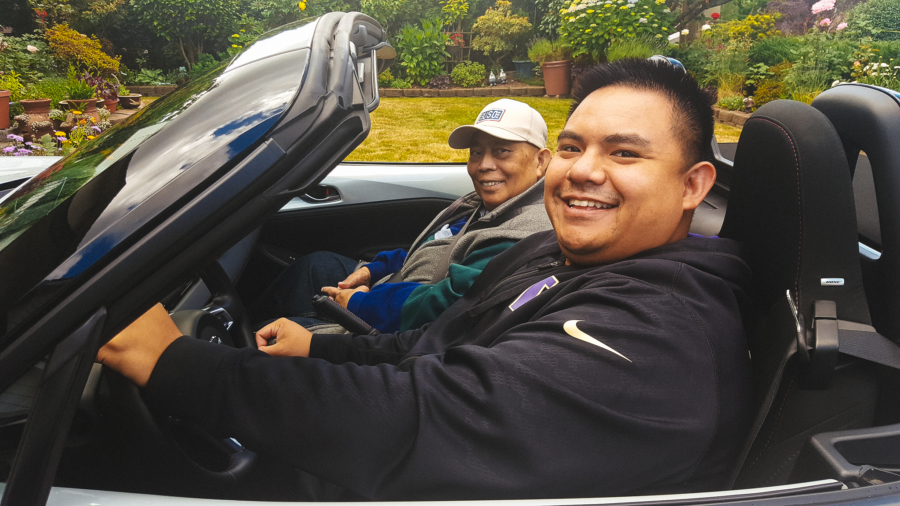 My dad and I test driving a Mazda MX-5 Miata