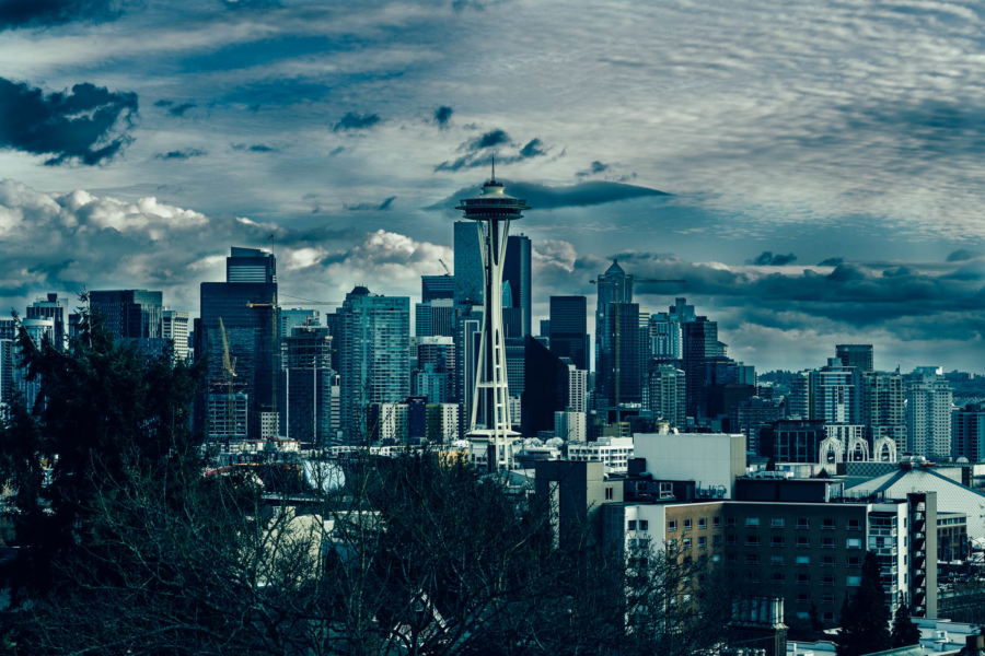 Moody Seattle Skyline from Kerry Park