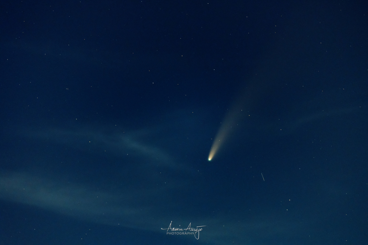 Comet NEOWISE with a shooting star, July 2020