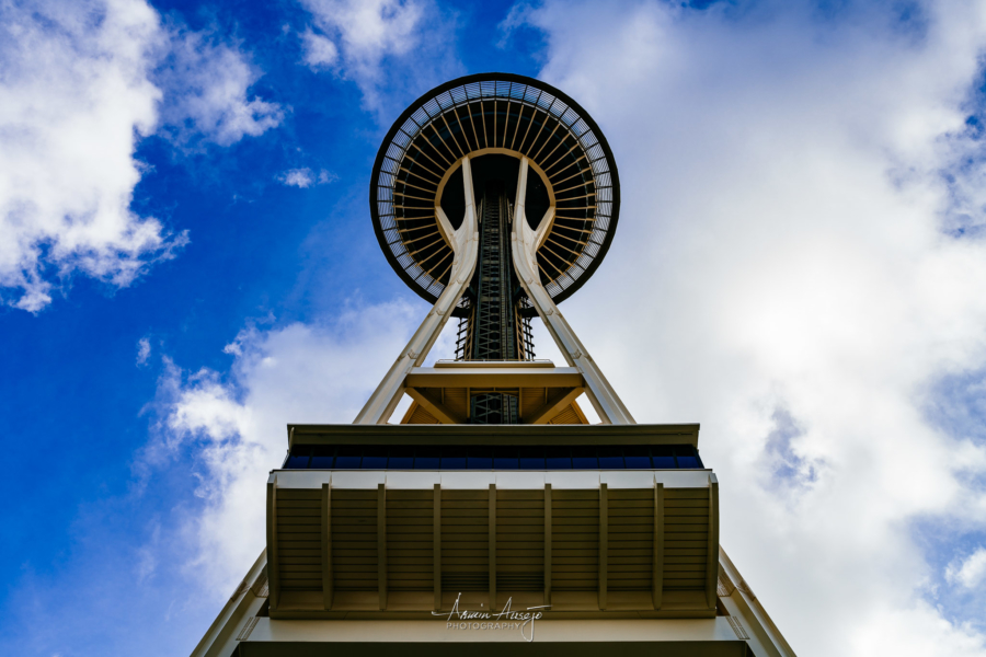 Look up toward the Space Needle, February 2020
